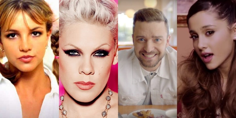 Collage of Britney Spears, Justin Timberlake, Ariana Grande and Pink