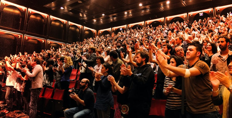 crowd at the theatre