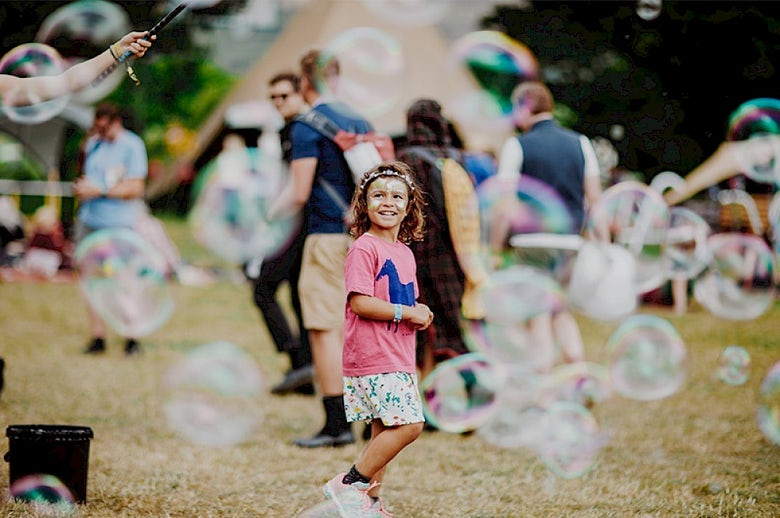 Young child at green man festival