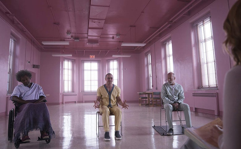 Glass, starring James McAvoy, Samuel L. Jackson, Bruce Willis and Sarah Paulson